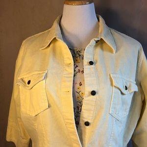 Liz Claiborne Yellow Corduroy Jacket Blazer 3/4 Lg